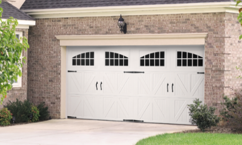 Classica Santiago with Seine Windows and Blue Ridge Handles and Hinges, in White.